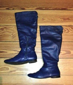 Lederstiefel kniehoch dunkelblau Schaftstiefel Boots Echtleder blau