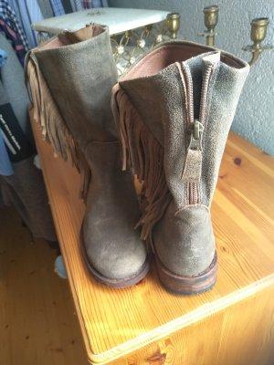 Lazamani Buskins grey brown leather