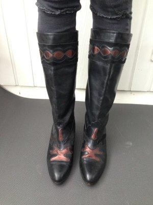 Lederstiefel Vintage Schwarz 80´s 90´s Kupfer rot