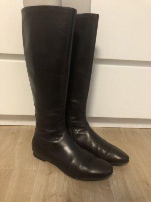 Attilio giusti leombruni Bottes à l'écuyère brun foncé cuir