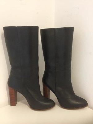 Zara Botas con tacón negro Cuero