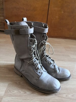 Zara Bottes à lacets gris brun-beige