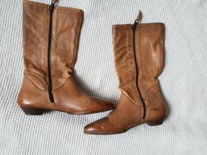 Airstep Zipper Booties cognac-coloured leather