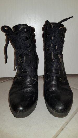 Manas Bottines à lacets noir cuir