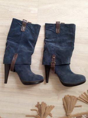 Korte laarzen staalblauw-bruin Leer