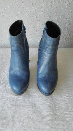 Lazamani Bottines à plateforme bleu acier cuir