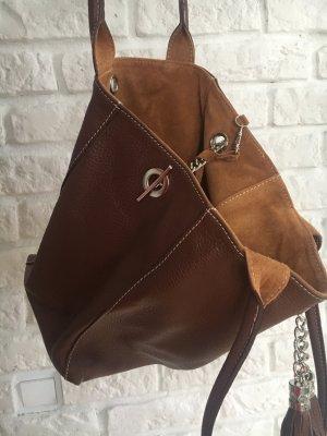 Ledertasche Handtasche edel Leder mit Quasten braun leicht und edel NEU