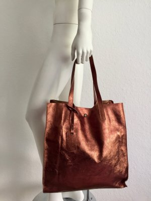 Ledertasche Metallic Optik Bronze New