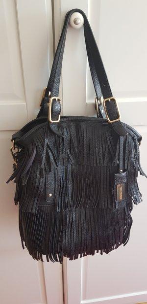 Hallhuber Fringed Bag black leather