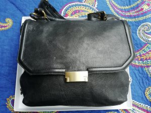 Crossbody bag black brown-dark brown leather
