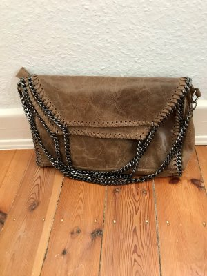 Vera Pelle Carry Bag brown-silver-colored leather