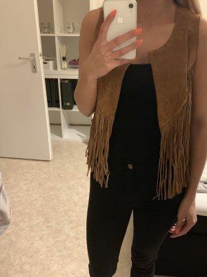 Esprit Leather Vest cognac-coloured
