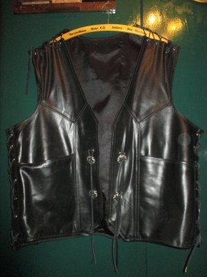 Gilet de moto noir-argenté cuir