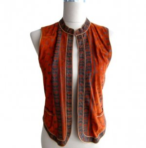 Roberto Cavalli Leather Vest cognac-coloured-brown leather