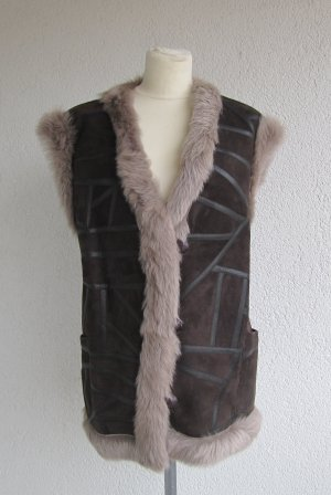 Leather Vest dark brown-beige leather