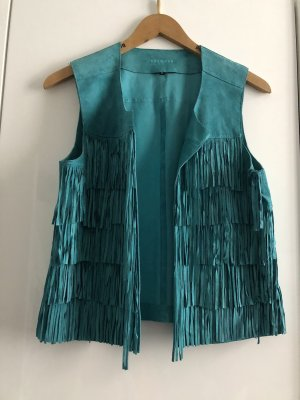 Oakwood Leather Vest turquoise-cadet blue leather