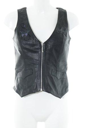 Leather Vest black biker look
