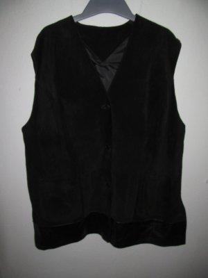 Lederweste schwarz Jacke Vintage Retro Gr. 50