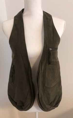 René Lezard Leather Vest olive green leather