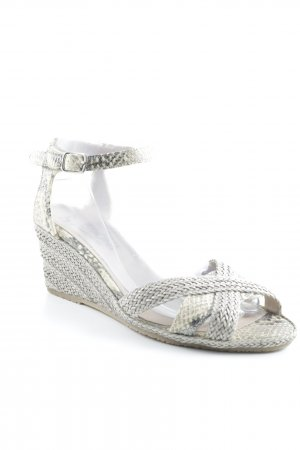 Ledoni Strapped High-Heeled Sandals cream-taupe mixed pattern beach look