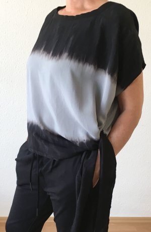 Oversized blouse azuur-zwart