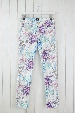 LEE Damen Jeans Schmal Skinny Mod. SCARLETT Flower Blumen Weiß Pink Türkis 27/33