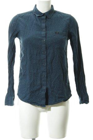 Lee Hemd-Bluse petrol-dunkelblau abstrakter Druck Casual-Look