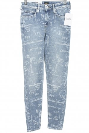 Lee Skinny Jeans stahlblau-weiß Schriftzug gedruckt Jeans-Optik