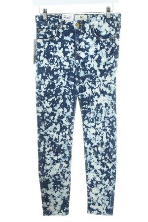 Lee Skinny Jeans weiß-blau abstraktes Muster Destroy-Optik