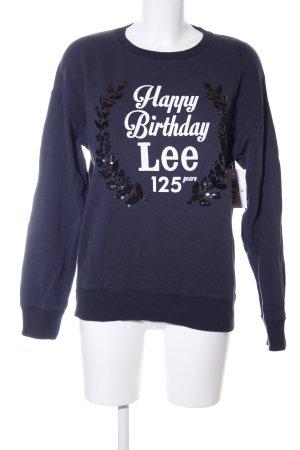 Lee Sweatshirt blau-weiß Motivdruck Casual-Look