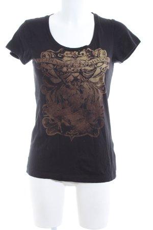 Lee T-Shirt schwarz-goldfarben Schriftzug gedruckt Casual-Look
