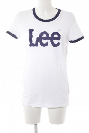Lee Camiseta blanco-azul letras impresas estilo minimalista