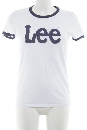 Lee T-Shirt weiß-dunkelblau Casual-Look