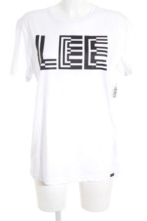 Lee T-Shirt weiß-schwarz Schriftzug gedruckt schlichter Stil