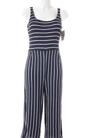 Lefties Jumpsuit weiß-blau Streifenmuster Casual-Look