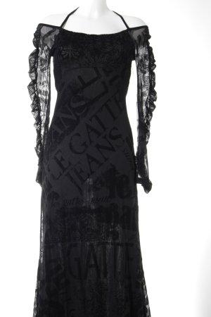 Legatte Abendkleid schwarz Ethnomuster klassischer Stil