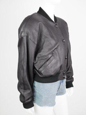 Leather Jacket black-dark violet leather