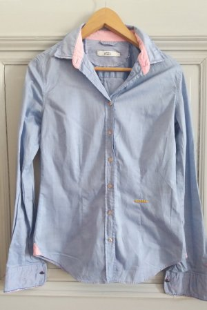 0039 Italy Long Sleeve Shirt azure-cornflower blue cotton