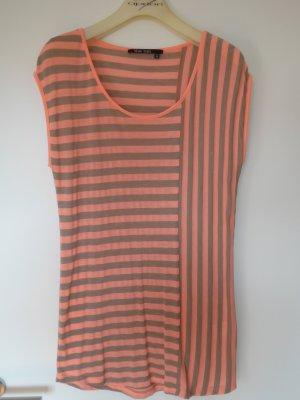Legeres Streifen-T-Shirt ohne Arm in Beige-Apricot