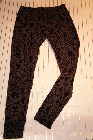 Leggings anthrazit mit schwarzem Flockdruck H&M Größe S