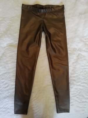 Leggings bronze-colored-silver-colored imitation leather
