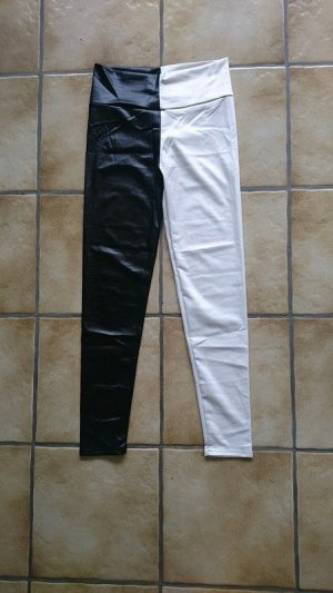 Leggings nero-bianco Tessuto misto