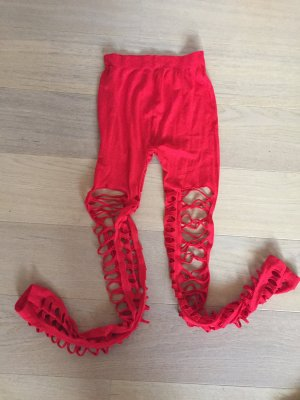 Leggings Hose stretchig rot mit Cut-Outs ausgefallen