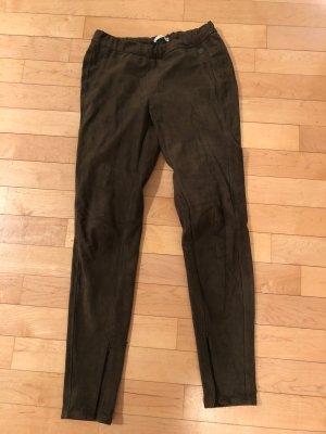 Leggings im Velours-Leder-Look (dunkelgrün)