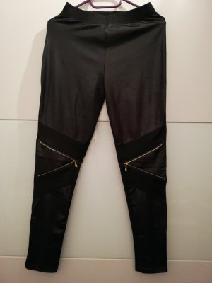 Leggings negro-color oro