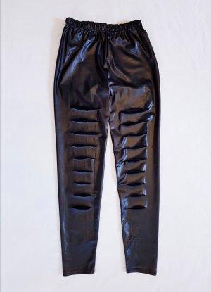 Leggings Lederoptik mit Lochmuster schwarz neu Gr. S 36