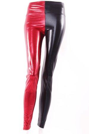 Leggings metallic rot schwarz