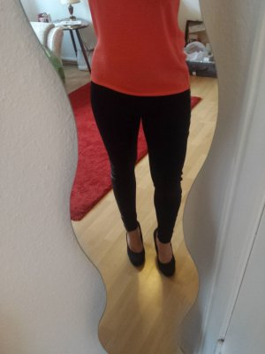 Leggings mit Leder-Einsätzen