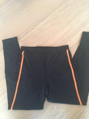 Leggings schwarz Hose Stoffhose mit Gummibund Gr. S