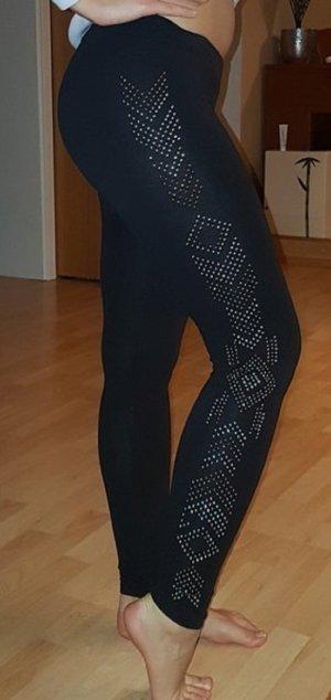 Leggings schwarz mit Steinchenbesatz in silber und gold  - XS